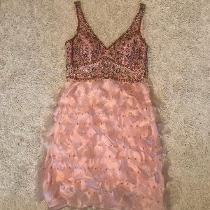 *NEW* Sue Wong Beaded Feather Cocktail Dress sz 10